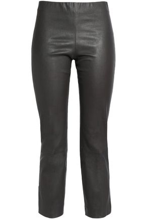 VINCE. Cropped leather skinny pants