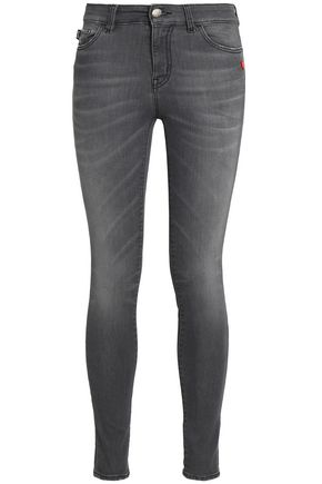 LOVE MOSCHINO Faded mid-rise skinny jeans