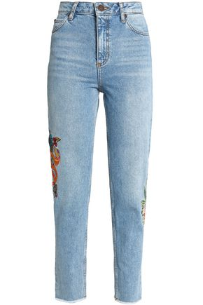 SANDRO Paris Embroidered high-rise slim-leg jeans