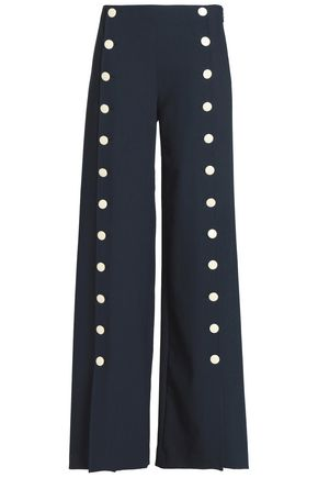 TORY BURCH Button-detailed crepe flared pants