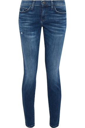 CURRENT/ELLIOTT The Stiletto cropped distressed mid-rise skinny jeans