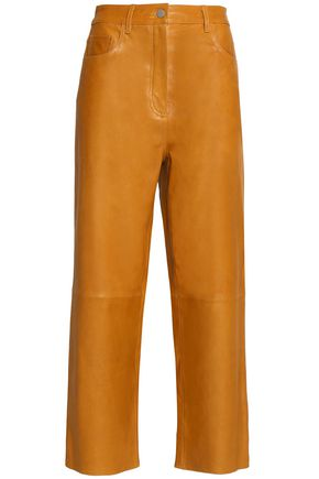 TIBI Cropped leather wide-leg pants