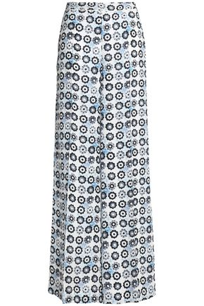 OSCAR DE LA RENTA Floral-print silk wide-leg pants
