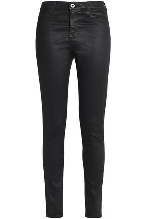 AG Jeans Coated cotton-blend skinny pants