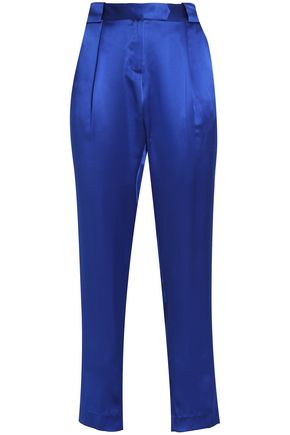 MICHELLE MASON Pleated silk-satin tapered pants