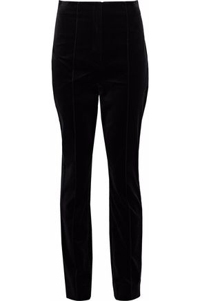 DIANE VON FURSTENBERG Cotton-blend velvet straight-leg pants