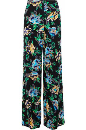 DIANE VON FURSTENBERG Floral-print faille wide-leg pants