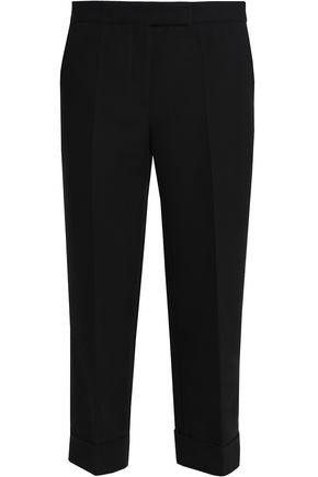SANDRO Cropped cotton-blend straight-leg pants