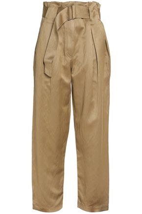 SANDRO Paris Belted pleated twill straight-leg pants