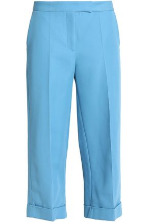 SANDRO Paris Cropped cotton-blend straight-leg pants