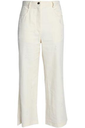 SANDRO Paris Cropped distressed cotton-blend wide-leg pants