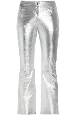SANDRO Paris Iggy cropped metallic textured-leather bootcut pants