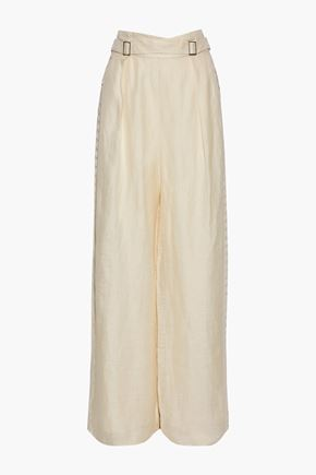ZIMMERMANN Crochet-trimmed silk and linen-blend wide-leg pants