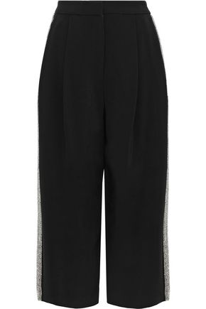ADAM LIPPES Cropped crystal-embellished cady wide-leg pants
