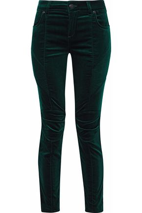 PIERRE BALMAIN Moto-style cropped stretch cotton-velvet skinny pants
