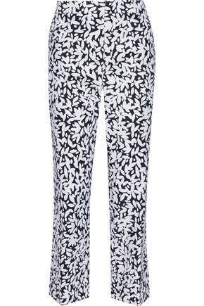 OSCAR DE LA RENTA Printed stretch-wool flared pants