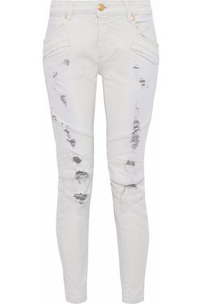 PIERRE BALMAIN Distressed mid-rise slim-leg jeans