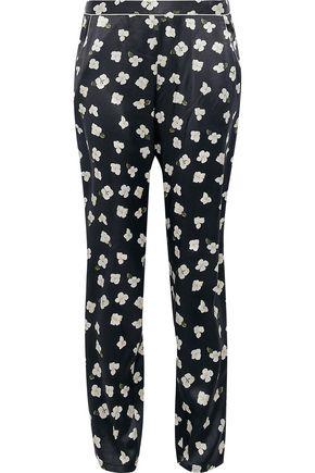 FLEUR DU MAL Floral-print silk-satin pajama pants