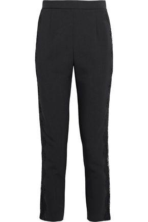 PIERRE BALMAIN Cropped lace-trimmed crepe slim-leg pants