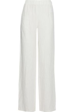 IRIS & INK Darryl striped linen-gauze straight-leg pants