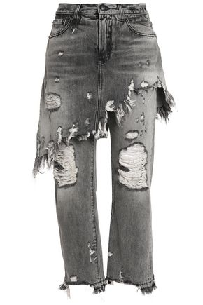 R13 Layered distressed high-rise straight-leg jeans