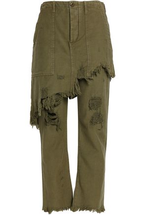 R13 Layered distressed cotton-canvas straight-leg pants