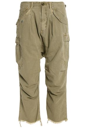 R13 Cropped distressed cotton-canvas straight-leg pants