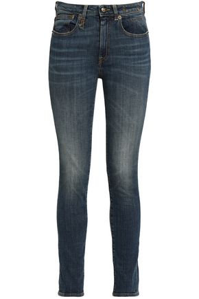 R13 Faded mid-rise skinny jeans