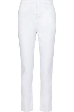 SANDRO Frayed high-rise straight-leg jeans