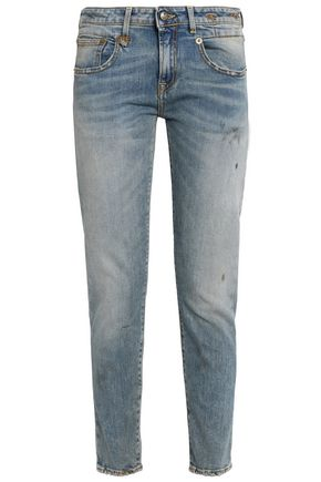 R13 Distressed faded low-rise slim-leg jeans
