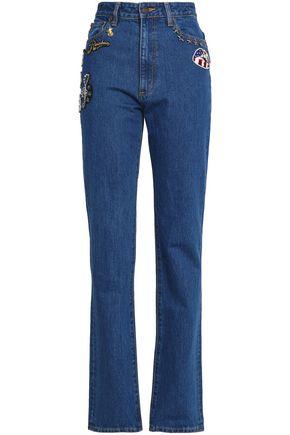 MARC JACOBS Appliquéd high-rise straight-leg jeans