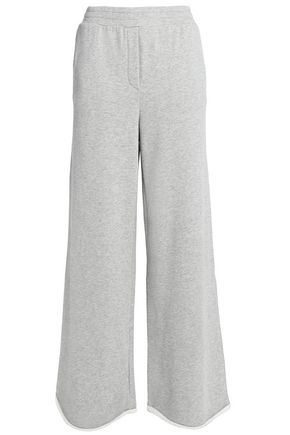 T by ALEXANDER WANG Mélange cotton-blend jersey wide-leg track pants