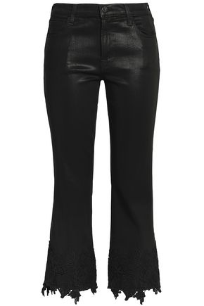 J BRAND Lace-trimmed coated mid-rise slim-leg jeans