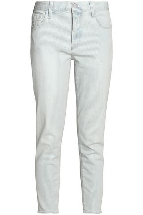 J BRAND Cropped striped mid-rise slim-leg jeans