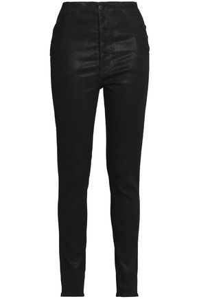 J BRAND Coated high-rise skinny jeans