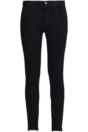 J BRAND Frayed mid-rise skinny jeans