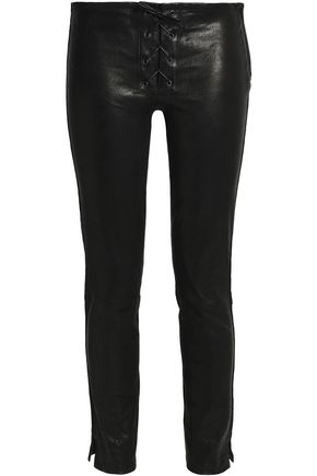 J BRAND Lace-up leather skinny pants