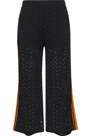 MSGM Cropped broderie anglaise cotton wide-leg pants
