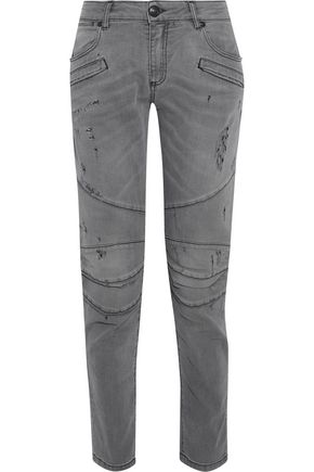 WOMAN MOTO-STYLE DISTRESSED LOW-RISE SKINNY JEANS GRAY