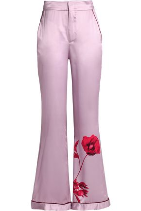 JOHANNA ORTIZ Printed silk-satin flared pants