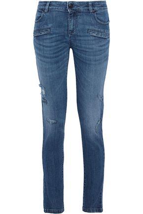 PIERRE BALMAIN Distressed mid-rise skinny jeans
