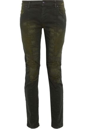 WOMAN MOTO-STYLE DISTRESSED MID-RISE SKINNY JEANS FOREST GREEN