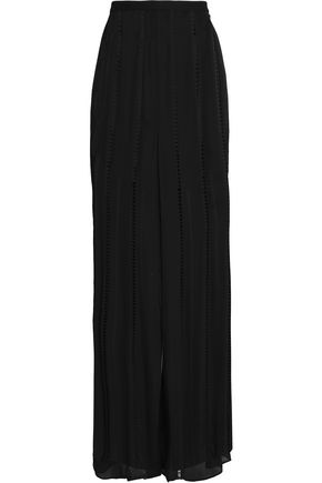 HAUTE HIPPIE Open knit-trimmed silk wide-leg pants