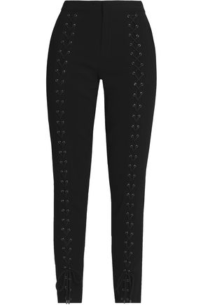 HAUTE HIPPIE Lace-up crepe slim-leg pants
