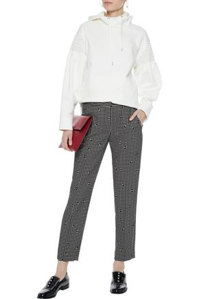 CARVEN Cropped gingham crepe slim-leg pants