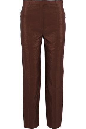 NINA RICCI Crinkled satin-crepe slim-leg pants