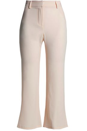 HAUTE HIPPIE Cropped satin-crepe flared pants