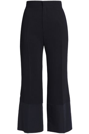 SEE BY CHLOÉ Cropped poplin-paneled crepe wide-leg pants