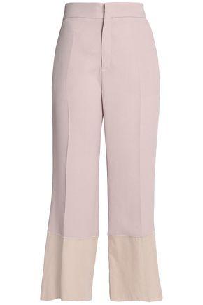 SEE BY CHLOÉ Cropped poplin-paneled crepe wide-leg pants