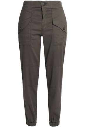 JAMES PERSE Stretch linen and cotton-blend tapered pants